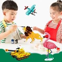 Robotime 若态 儿童益智立体拼装涂色拼图木质模型积木拼插DIY绘画玩具 飞机/坦克/恐龙 *3件