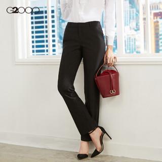 G2000女装商务时尚女装黑色修身长裤 淑女气质通勤简约正装西裤00750001 黑色/99 34/160
