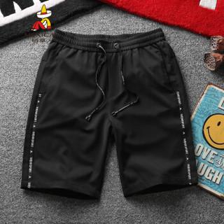 稻草人(MEXICAN)男士休闲短裤男2019夏季新款五分裤潮流ins风学生修身中裤 黑色 XL