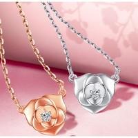 SEAZA 喜钻 玫瑰花钻石项链