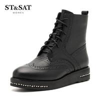 ST&SAT/星期六牛皮革中跟短靴女 SS64117476