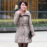 俞兆林 中老年羽绒服女2019冬季新品大码加厚妈妈装女装外套  YWYR189135 浅驼色 M