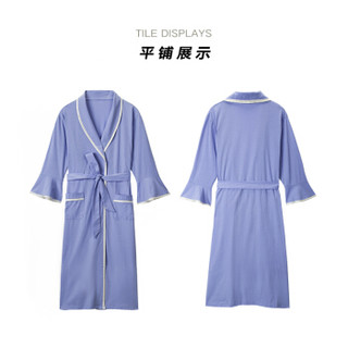 大朴(DAPU)浴袍 纯棉青果领家居睡袍浴衣 女浴袍薄款 全棉 青春系列 浅紫色 L码