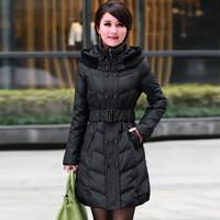 俞兆林 中老年羽绒服女2019冬季新品大码加厚妈妈装女装外套  YWYR189142 黑色 XL
