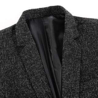 罗蒙(ROMON)西服男时尚商务休闲正装 9XF971902 黑灰 52