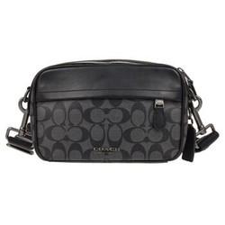 COACH 蔻驰 奢侈品 男士黑灰色PVC配皮单肩包 F50715QBAF4