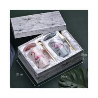 汉馨堂 陶瓷杯 简约火烈鸟陶瓷杯礼盒套装带盖带勺大理石纹马克杯子礼品