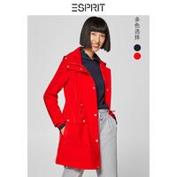 ESPRIT 工装风衣女休闲直筒纯色连帽收腰中长款大衣
