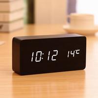 TIMESS闹钟 蓄电款静音电子钟声控可充电LED学生创意时钟卧室温度多功能木头钟5021-1黑 *4件