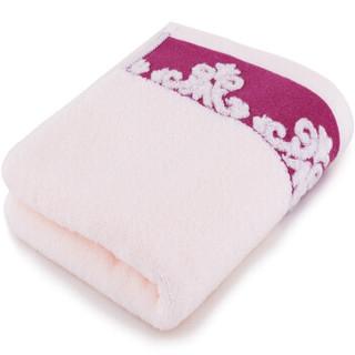 三利 纯棉缎档图腾纹样 方巾毛巾浴巾三件套 礼盒装 桃粉色