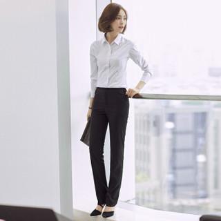 特洛曼长袖衬衫女职业韩版修身正装工作服女装上衣打底白色显瘦OL气质秋冬新款工装女式白衬衣 M