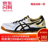 亚瑟士asics羽毛球鞋排球鞋女款GEL-ROCKET 9室内外训练运动鞋1071A030 1071A030-100 白色/黑色 46