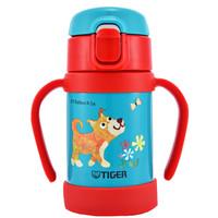 tiger虎牌婴幼儿童保温杯吸管真空304不锈钢水杯280ml MCK-A28C保冷杯 小狗(红色AR)