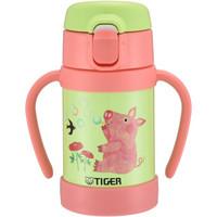 tiger虎牌婴幼儿童保温杯吸管真空304不锈钢水杯280ml MCK-A28C保冷杯 小猪粉色GP