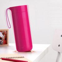 台湾Artiart创意不倒杯保温杯女时尚水杯保温壶男大容量便携茶杯真空不锈钢杯子400ml 粉色400ml