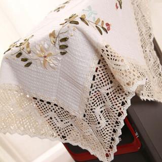 青苇 棉麻手绣 丝带绣 田园风格多用盖布 2条装60*60cm