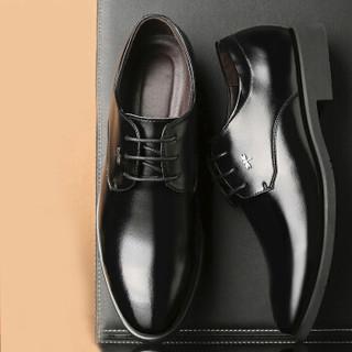 蜻蜓牌男士英伦系带商务正装休闲皮鞋 X7 黑色 43码