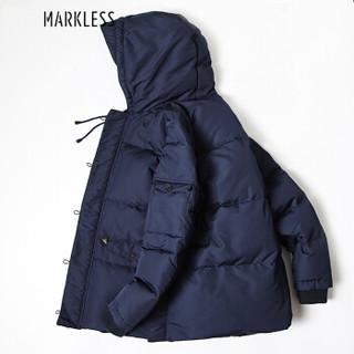 Markless YRA5316M 加厚中长款白鸭绒连帽羽绒服