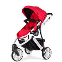 Babyruler婴儿推车 新年礼物高景观婴儿车 三轮儿童手推车可坐可躺 强避震宝宝推车 可换向 一代中国红 婴儿推车