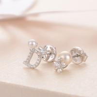 京润珍珠 925银 小菊 淡水珍珠耳钉 3-5mm