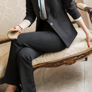 初申 西裤女2019秋季新款职业装西裤女职业商务通勤休闲裤白领工作正装 SWKX198202 黑色 L