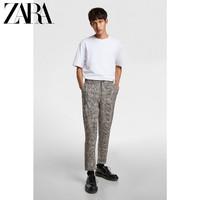 ZARA 08288422330 男士格子九分收腿裤工装裤