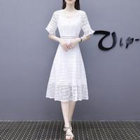 BANDALY 2019夏季女装新款蕾丝连衣裙女淑女高腰镂空修身中长款v领白色裙子 zx5619-6002 白色 XL