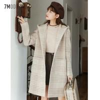 专柜同款中长款毛呢外套女2019冬季新款韩版赫本风宽松格子呢子大衣流行潮709D6007 *3件