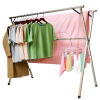 不锈钢晾衣架落地折叠阳台室内卧室双杆式凉衣服晒架简易晒衣架子