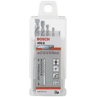 博世(BOSCH)高速金属钢麻花钻头(5件套)HSSG(2/3/4/5/6mm) *11件