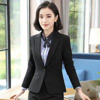初申 2019秋季新款长袖小西装女士西服修身职业套装外套+短裙+衬衫 SWXF192134-1 黑色西装 L
