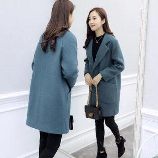 仙丫 2019秋季新款女装新品毛呢大衣女中长款小个子韩版显瘦毛呢外套女 XDD02 黑色 S