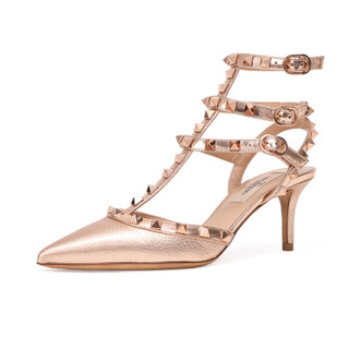 VALENTINO 华伦天奴 女士玫瑰金牛皮铆钉装饰踝带高跟鞋 QW2S0375NNF L30 6.5/36.5
