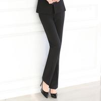 初申 2019秋季新款修身长袖小西装女士通勤套装工作服 SWXF192136-3 黑色西裤 L
