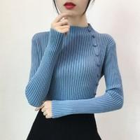 鸿潞时装 女士套头纽扣半高领毛衣
