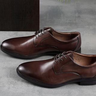 京东京造 皮鞋男商务正装德比鞋光面英伦系带圆头头层牛皮 棕色 44
