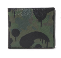 COACH 军绿色牛皮迷彩印花女士翻盖卡包卡夹