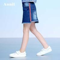 安奈儿童装女童短裙夏季新款不对称设计牛仔短裙EG833176