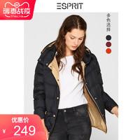 ESPRIT羽绒服女2019冬季新款连帽短款90%白鸭绒羽绒衣089EE1G059