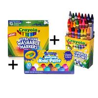 12色可水洗粗头水笔+10色水洗颜料+24色
