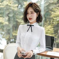 初申 2019秋季新款修身长袖小西装女士通勤职业正装套装 SWXF191306-4 白色衬衫XL