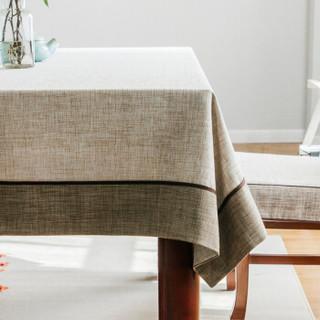 锦色华年茵蔓纯色 桌布 餐桌 布艺 复古餐桌布中式加厚台布茶几布可定做 浅色面 130*180cm
