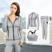 范迪慕 瑜伽服套装女夏季新款修身显瘦健身跑步运动服健身房运动套装 FB01-灰色-背心+长裤+外套三件套-L