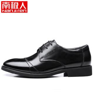 南极人(Nanjiren)头层牛皮商务休闲鞋男士正装鞋英伦低帮皮鞋系带男鞋 NJR778 黑色 44