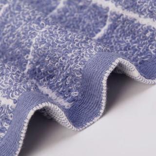 洁丽雅(Grace)毛巾家纺 经典格纹系列纯棉强吸水面巾 二条装 兰/灰  72*34cm 100g/条