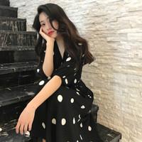 BANDALY 2019夏季女装新款时尚连衣裙小清新裙子长裙显瘦雪纺波点v领连衣裙潮 zx8152-6109DD 黑色 4XL