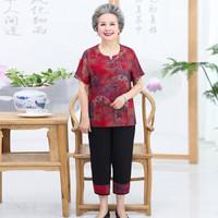 莉夏乐 2019夏季新品女装T恤中老年人短袖套装奶奶装妈妈开衫两件套 MMTH30057 3号色 2XL