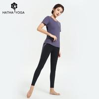 哈他2019秋季新款预视瑜伽服跑步健身房速干衣专业运动套装女士 短袖三件套-夕雾紫 S