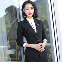 初申 2019秋季新款女士长袖小西装通勤修身气质职业套装 SWXF192132-1 黑色西装 L