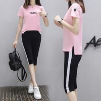 莉夏乐 2019夏季新品女装T恤时尚运动服套装休闲服短袖两件套韩版衣服 GZDZFS7424 698粉色-七分裤 L